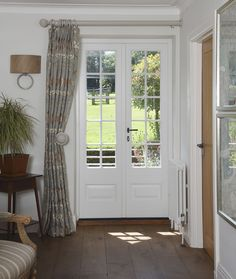 French doors finished in White with astragal glazing bars. - French doors finished in White with astragal glazing bars. Ironmongery sourced by customer. Blinds For French Doors, French Door Windows, French Doors Bedroom, French Doors Patio, Windows And Doors, Front Door Curtains, Porch Doors, Front Doors, External French Doors