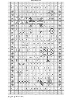 Sampler Chart ~ Pretty primitive free cross stitch pattern called Petit Sampler Rose by Paola Gattiblu (in Italian & French). Great variety of hearts, crowns, alphabet, key, birds and flower motifs.