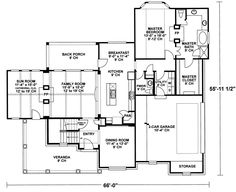 Choose from thousands of home designs here at House Plans and More! Our service helps you estimate the cost to build, find builders in the area, and more. Two Story House Plans, House Plans And More, Two Story Homes, Custom Home Designs, Custom Homes, U Shaped Staircase, Two Sided Fireplace, Front Verandah, Garage Entry