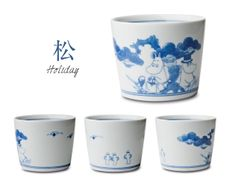 amabro × MOOMIN 松竹梅 そば猪口 有田焼 Japanese Plates, Asian Rice, Moomin, Japanese Pottery, White Porcelain, Blue And White, Clay, Mugs, Tableware
