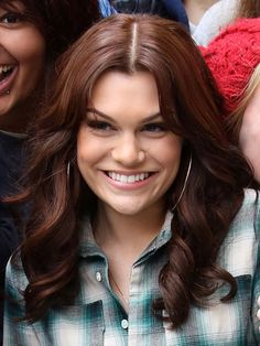 Famous British,English Singer Jessie J with her Farrah Fawcett Charlie's Angels Hairdo.