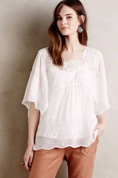at anthropologie Carwen Embroidered Top - ivory