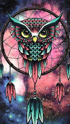 Owls are very majestic. Owl Wallpaper Iphone, Cute Owls Wallpaper, Cute Wallpaper Backgrounds, Animal Wallpaper, Galaxy Wallpaper, Ovo Wallpaper, Dreamcatcher Wallpaper, Owl Artwork, Dream Catcher Art