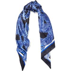 Versace Printed silk twill scarf ($425) ❤ liked on Polyvore featuring accessories and scarves