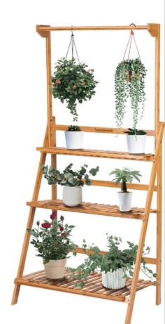 Hanging Plant Stand Foldable Planter Shelves Flower Pot Organizer Storage Rack Hanging Plant Stand F Wooden Plant Stands Indoor, Indoor Plant Shelves, Garden Shelves, Indoor Plants, Indoor Gardening, Indoor Herbs, Air Plants, Cactus Plants, Pot Organization
