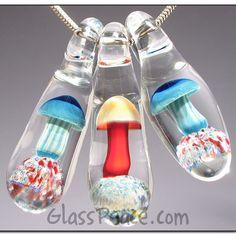 Glass Mushroom Beads lampwork shroom pendants by Glass Peace $25.00