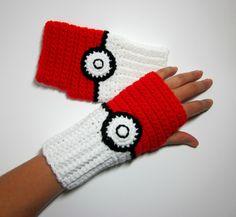 Power Wristies. Pokeball Inspired Wristwarmers. Pokemon Fingerless Gloves. Nintendo Video Game and Comics Accessory. Cosplay.. $45.00, via Etsy.