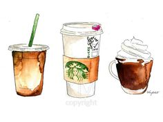 Watercolor Painting Print art piece, 'Coffee Addict', Pastry kitchen decor and w. - Çizimler - Watercolor Painting Print art piece, 'Coffee Addict', Pastry kitchen decor and wall art – Aq - Food Painting, Coffee Painting, Painting Prints, Painting & Drawing, Art Prints, Coffee Drawing, Watercolor Food, Watercolor Illustration, Watercolor Paintings