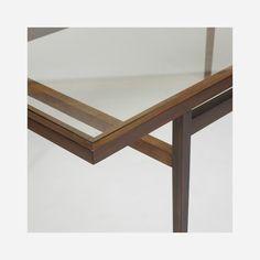 Lot 174: Branco & Preto. dining table. c. 1955, jacaranda, glass. 82½ w x 39½ d x 29¾ h in. estimate: $7,000–9,000.