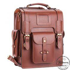 """Кожаный ранец-портфель """"Джон"""" (коричнево-рыжий) - 11 Leather Briefcase, Leather Pouch, Leather Shoulder Bag, Leather Backpack, Leather Bags, Custom Leather Belts, Leather Men, Edc Bag, Simple Bags"""