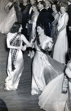 Queen Elizabeth II Pictured During A Dance On The Crowded Floor At The Royal Caledonian Ba...
