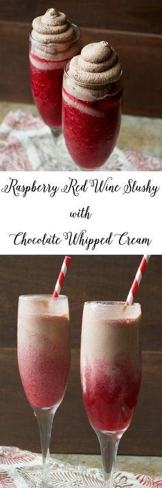 Raspberry Red Wine Slushy with Chocolate Whipped Cream! www.maebells.com