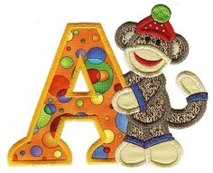 Sock Monkeys Applique Alphabet - 5x7 | Alphabets | Machine Embroidery Designs | SWAKembroidery.com Designs by JuJu