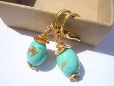 Turquoise earrings, Gemstone earrings, Turquoise and gold earrings, Chic earrings, Drop earrings, Hoop earrings,Clip on earrings