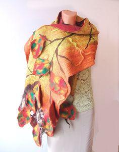 Nuno felted Scarf - Autumn leaves Yellow #nuno #felted #scarf #orange #leaf #autumn #wool #silk $98.00