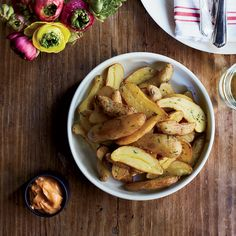 Every tapas bar in Spain seems to serve these crisp potatoes. In this twist, fingerlings are used because they become especially creamy when fried.