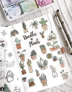 More doodle inspiration! Create cute plant doodles in your bullet journal or planner. Fun, easy to make doodles anyone can draw! Self Care Bullet Journal, Bullet Journal Spread, Bullet Journal Inspiration, Beginner Bullet Journal, Journal Layout, Journal Pages, Journal Ideas, Bullet Journal Doodles Ideas, Bullet Journal Icons