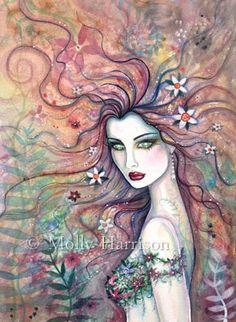 ACEO Chloris Goddess of Flowers Fairy Art  LE Print by Molly Harrison Fantasy Art