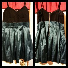 Cute short dress! Middle thigh length, silky blue material on the bottom, black top. So cute and stylish. Dresses Mini