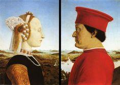 Pierro Della Francesca - Portrait du Duc et de la Duchesse d'Urbino 1465 ________________________________ L'humanisme permet également au portrait d'apparaître, genre jusqu'alors prohibé par le pouvoir religieux pour lequel l'individu n'avait pas d'importance en soi.