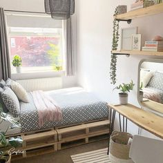 50+ Adorable Pallet Bed Ideas You Will Love - Crafome Pallet Bedframe, Diy Pallet Bed, Wooden Pallet Furniture, Large Furniture, Home Furniture, Diy Bed, Pallet Ideas, Cute Bedroom Ideas, Bed Ideas