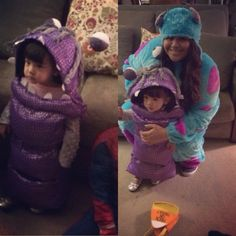 DIY Boo Costume and Sully from Monsters Inc. Mommy and Me set. My daughter was 15 months when my mom and I made her this costume for Halloween '13.  It was a hit!