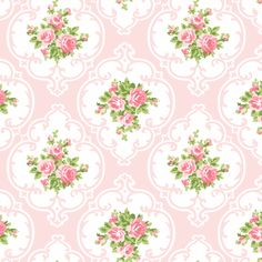 Sweet NEW Cameo Roses  in Shell Pink! fabric by parisbebe_com on Spoonflower - custom fabric