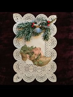 Antique french christmas postcard