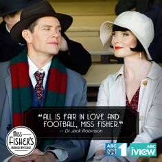 """""""All is fair in love and football, Miss Fisher. Mystery Tv Shows, Mystery Series, Mystery Books, Best Mysteries, Murder Mysteries, Cozy Mysteries, Miss Fisher, Detective Shows, Movie Couples"""