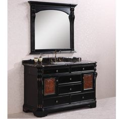 Shop for Legion Furniture Exclusive Marble Top Single Sink Antique Espresso Bathroom Vanity with Matching Wall Mirror. Get free delivery On EVERYTHING* Overstock - Your Online Furniture Outlet Store! Vintage Bathroom Vanities, Victorian Bathroom, Bathroom Floor Tiles, Wood Bathroom, Single Bathroom Vanity, Vanity Sink, Bathroom Furniture, Single Vanities, Bathroom Black