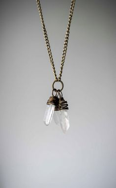 Beautiful Multi Quartz Crystal Shard Necklace. Singing Quartz Wire Wrap on Bronze Chain. Vegan, Boho, Hippie, Healing, Statement, long, Raw