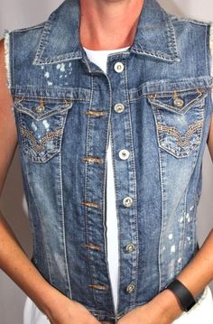 Guess Embroidered Design Sleeveless Distressed Stretch Jean Jacket Women L #GUESS #JeansJacket