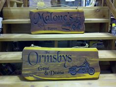 Motorcycle  and tractor cedar slab signs