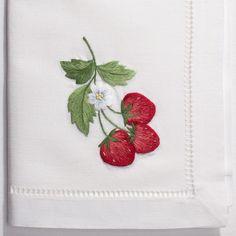 Strawberries<br>Napkin - White Cotton