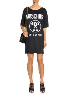Logo and question mark-print satin dress | Moschino | MATCHESFASHION.COM UK