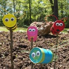 25 Recycled Tin Can Crafts For Kids. •tin cans •DecoArt Patio paint •sponge brushes •colored floral wire. •ice pick •rubber mallet •googly eyes •hot glue gun.  Paint tin cans. ice pick to put holes near the bottom of the cans: 1 for the wings & 1 opposite it for the post.