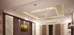 MDF cutting pattern has been incorporated with back lighting to give this ceiling a completely exotic look Drawing Room Interior, Pooja Room Door Design, Bedroom False Ceiling Design, Plafond Design, Kitchen Ceiling Lights, Pooja Rooms, Front Rooms, Pop Design, Interior Design Companies