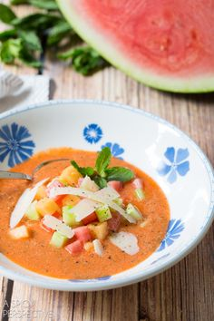 Cool Watermelon Gazpacho Recipe #gazpacho #soup #watermelon