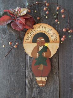 Wall Hanging, O Christmas Tree, Sign, Gingerbread Man, Holiday, Plaque, Christmas Tree