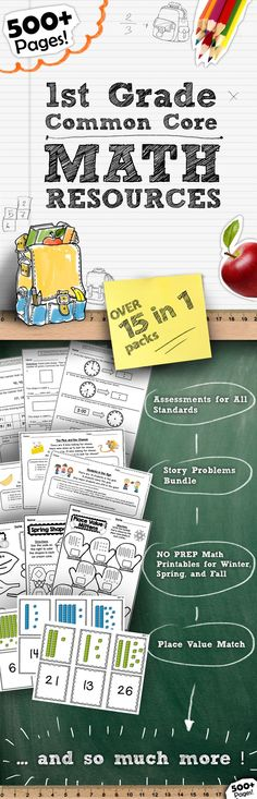 In this HUGE 500+ page bundle, you will receive a zip file that contains EVERY 1st Grade Common Core Math resource in my store! This includes my Story Problems Bundle (Best Seller!), Common Core Math Assessments for all standards, NO PREP Seasonal Packs, Place Value Match….. and so much more!