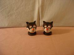 "Vintage ""Felix the Cat"" Heads Salt & Pepper Shakers - Made in Germany Felix The Cats, Salt And Pepper Set, Salt Pepper Shakers, Handicraft, 1930s, Germany, Collections, Sugar, Vintage"