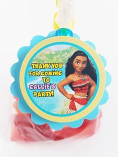 Personalized Moana Birthday Favor Tags perfect for thank you tags on party favors and goodie bags for a Hawiaan Moana theme party!