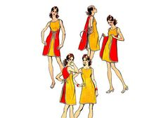 Simplicity 9970 - dress pattern from 1972 Mini wrap dress. Diy Clothing, Sewing Clothes, Clothing Patterns, Dress Patterns, Dress Sewing, Vestidos Vintage, Vintage Dresses, Diy Dress, Wrap Dress