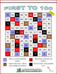 First to 100 - a 1st grade counting game with numbers to 100
