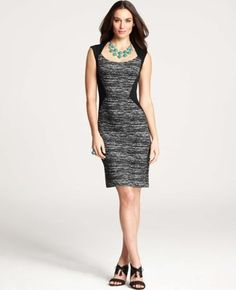 Tweed Knit Angular Seamed Sheath Dress from Ann Taylor: perfect for work!