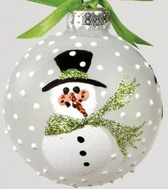 Snowman #glass ornament made with @Martha Stewart #Crafts Etching Effect