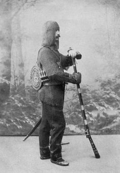 Khevsur wearing suit of mail, carrying traditional weapons and shield. Up through the nineteenth century blood feuds were common among the Khevsur, hence the bearing of arms and armor. A person who was targeted for revenge could never feel entirely secure until the offense was expiated. At times feuds continued for generations, with grave consequences: entire clans or villages became embroiled in these feuds.