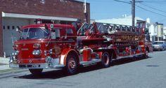 SAN FRANCISCO, CA TRUCK # 18 1971 AMERICAN LaFRANCE 100' LADDER TRUCK SLIDE Fire Dept, Fire Department, Fire Apparatus, Emergency Vehicles, Car Wheels, Fire Engine, Ladders, Firefighters, Fire Trucks