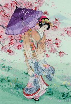 Yumezakura (Umbrella) - Cross Stitch Kit $68