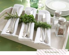 Easter tablescape...decorated with herbs. This would be nice for Passover as well.